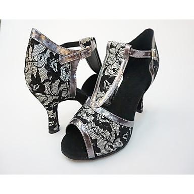 Damen Schuhe für den lateinamerikanischen Tanz Spitze / Kunstleder Absätze Stöckelschuh Tanzschuhe Schwarz / Grau / Innen