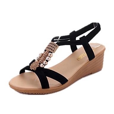 Naisten Kengät PU Kesä Comfort Sandaalit Kiilakantapää varten ulko- Valkoinen Musta Beesi