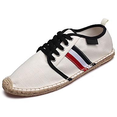 Herren Schuhe PU Stoff Frühling Herbst Komfort Sneakers Schnürsenkel Für Normal Weiß Schwarz