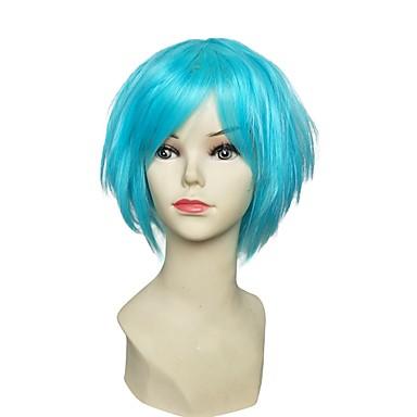 Synthetische Perücken Kinky Glatt Stufenhaarschnitt Synthetische Haare Blau Perücke Damen Kurz Cosplay Perücke / Natürliche Perücke /