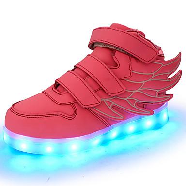 Mädchen Schuhe PVC Leder Kunstleder maßgeschneiderte Werkstoffe Frühling Sommer Komfort Leuchtende LED-Schuhe Sneakers Klettverschluss LED