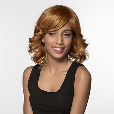 Ludzkie Włosy Capless Peruki Włosy naturalne Luźne fale Medium Tkany maszynowo Peruka Damskie