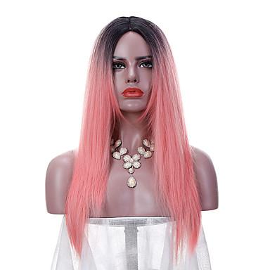 Peruki syntetyczne Prosto Falisty Naturalna linia włosów Gęstość Bez czepka Damskie Różowy Czarny Celebrity Wig Peruka imprezowa Lolita