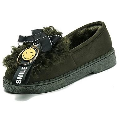 Damskie Obuwie Guma Zima Comfort Mokasyny i pantofle Okrągły Toe Kokarda na Na wolnym powietrzu Black Gray Army Green Dark Brown