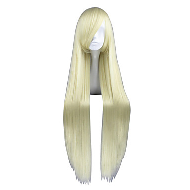 Peruki syntetyczne Kinky Straight Gęstość Bez czepka Damskie Blond cosplay peruka Długo Włosy syntetyczne