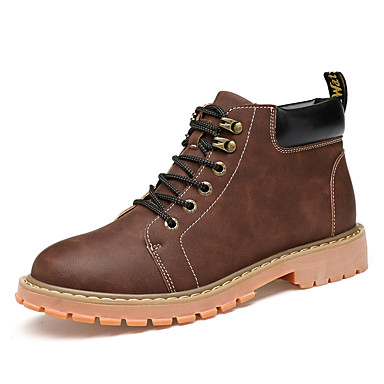 Homens sapatos Couro Ecológico Primavera Outono inicialização Chelsea Conforto Botas Caminhada para Casual Marron Preto