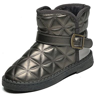 Damen Schuhe PU Herbst Winter Komfort Schneestiefel Stiefel Runde Zehe Mittelhohe Stiefel Für Normal Schwarz Grau