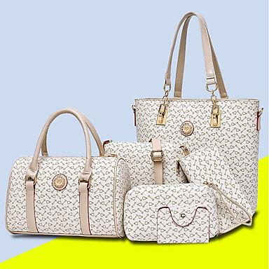 baratos Super Ofertas-Mulheres Estampa PU Conjuntos de saco Conjuntos de sacolas 5 Pcs Purse Set Roxo / Café / Azul Céu