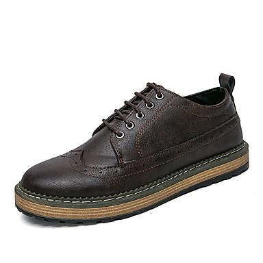 Masculino sapatos Couro Ecológico Primavera Outono Conforto Oxfords Cadarço Para Casual Preto Cinzento Café Escuro