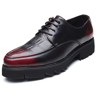 Męskie Komfortowe buty PU Wiosna / Jesień Oksfordki Czarny / Czerwony