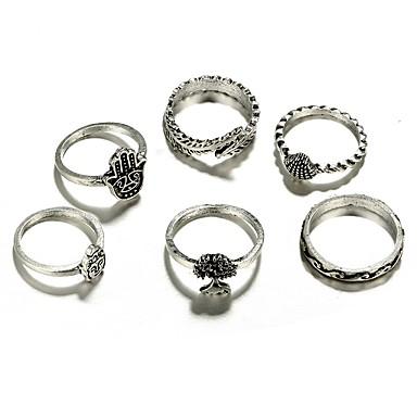 Damskie Pierścień oświadczenia , 6szt Silver Stop Nieregularny Ręka Fatimy Hip-Hop Rock Codzienny Wieczór i specjalne okazje Biżuteria