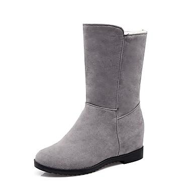 Damen Schuhe Kunstleder Herbst Winter Modische Stiefel Stiefel Runde Zehe Booties / Stiefeletten Schnalle Für Normal Kleid Schwarz Grau