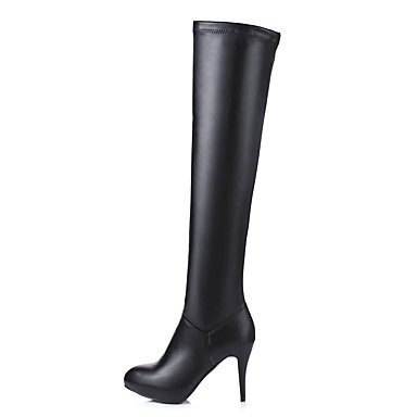 bb68c7be44e Women s Shoes Leatherette Winter Fashion Boots   Fluff Lining Boots Round  Toe Thigh-high Boots White   Black   Party   Evening
