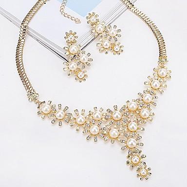 Damskie Biżuteria Ustaw - Perła Klasyczny, Europejskie, Moda Zawierać Kolczyki sztyfty Naszyjniki z wisiorkami Złoty / Srebrny Na Zaręczynowy Ceremonia