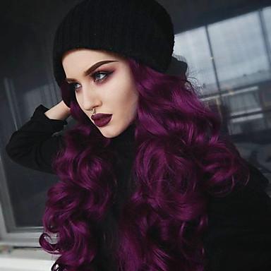 Syntetyczne koronkowe peruki Falisty Z baby hair Purpurowy Damskie Koronkowy przód Peruka imprezowa Peruka naturalna cosplay peruka Długo