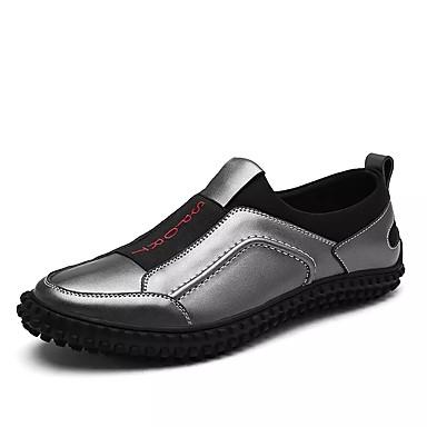 Męskie Buty Skórzany Wiosna Jesień Lekkie podeszwy Mokasyny i pantofle na Casual Black Gray