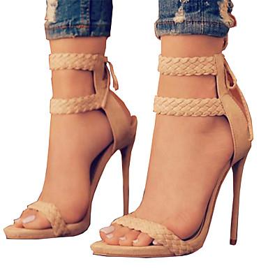 Damen Schuhe PU Sommer Herbst Komfort Neuheit Sandalen Offene Spitze Schnürsenkel Für Kleid Party & Festivität Schwarz Beige