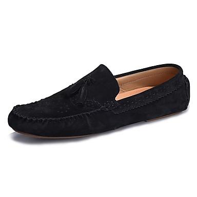Męskie Buty PU Zamsz Wiosna Lato Comfort Mokasyny i pantofle na Casual Black Gray Coffee Niebieski Khaki