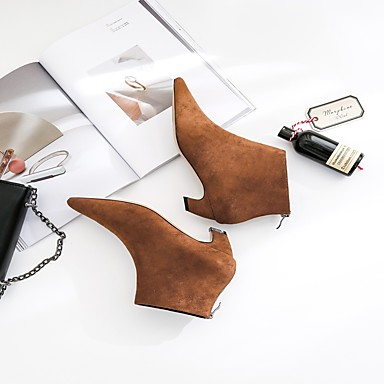 Automne 06407011 Bout Nouveauté Bas Mode pointu Bottine Marron la Demi Bottes Flocage Noir Chaussures Talon Hiver Femme Bottes Botte à 71EHqH