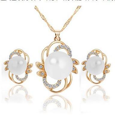 Damskie Biżuteria Ustaw - Sztuczna perła, Imitacja diamentu Kwiat Klasyczny, Moda Zawierać Kolczyki drop / Naszyjniki Złoty / Srebrny Na Codzienny