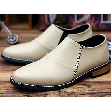 Herren Schuhe PU Frühling Herbst Komfort Stiefel für Normal Schwarz Beige Rot