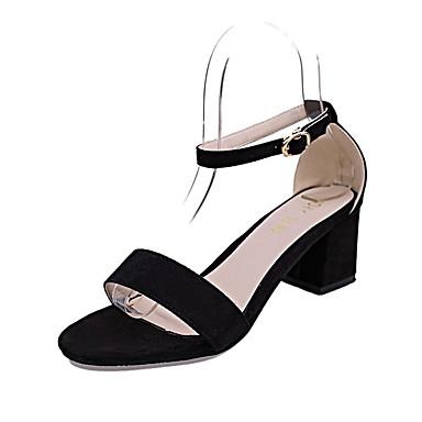 Mulheres Sapatos Camurça Verão Sandálias Caminhada Salto Robusto Ponta Redonda Combinação para Preto Cinzento Rosa claro