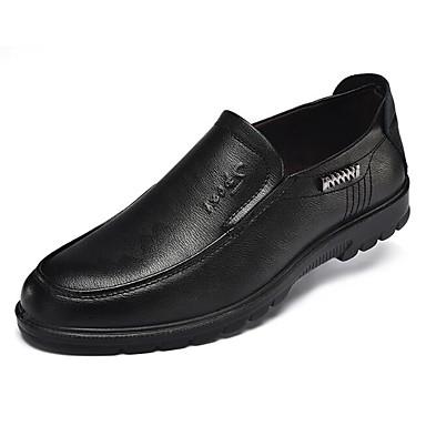 Herren Schuhe Künstliche Mikrofaser Polyurethan Frühling Herbst Komfort Loafers & Slip-Ons Für Normal Schwarz