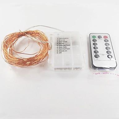 10m Leuchtgirlanden 100 LEDs Weiß Fernbedienungskontrolle Batterie 1pc / IP65