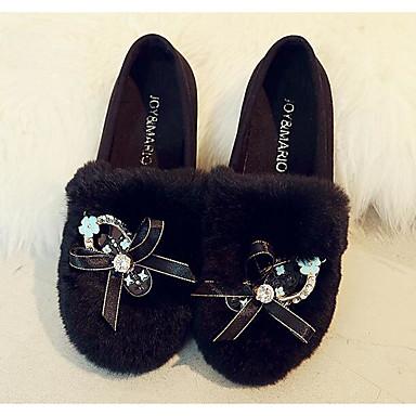 Damen Schuhe Beflockung Frühling Herbst Komfort Loafers & Slip-Ons für Normal Schwarz Grau