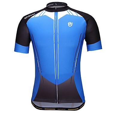 Męskie Krótki rękaw Koszulka rowerowa - Niebieski Geometric Shape Rower Dżersej, Szybkie wysychanie Poliester / Elastyczny