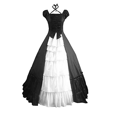 Viktorianisch Rokoko Kostüm Damen Kleid Party Kostüme Maskerade Schwarz Vintage Cosplay Other Baumwolle Kurzarm Kappe Boden-Länge
