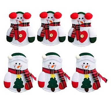 6pcs snowman santa claus alces cubertería traje bolsillos cuchillos forks vajilla vajilla mesa de la cena de navidad