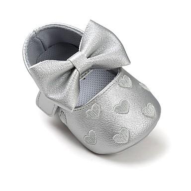 baratos Sapatos de Criança-Para Meninas Courino Rasos Crianças (0-9m) Conforto / Primeiros Passos / Sapatos de Berço Laço / Velcro Roxo / Rosa empoeirada / Vermelho Primavera / Outono