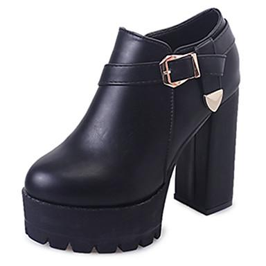 Damen Schuhe PU Frühling Herbst Komfort Stiefel Runde Zehe Schnalle Für Normal Schwarz