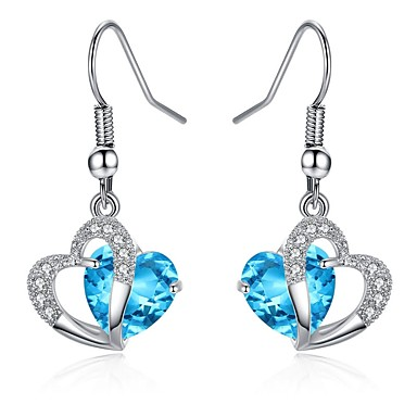 Damen Kristall, Kubikzirkonia Tropfen-Ohrringe, Kreolen - Krystall, Zirkon Purpur, Hellblau