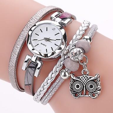cheap Women's Watches-Women's Ladies Bracelet Watch Simulated Diamond Watch Diamond Watch Quartz Wrap Quilted PU Leather Black / White / Blue Imitation Diamond Analog Casual Bohemian Fashion - Gray Pink Light Blue One