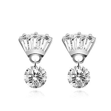 Damskie Kolczyki na sztyft Kryształ Cyrkonia Elegancki Hipoalergiczny Modny Słodkie Miedź Posrebrzany Crown Shape Nieregularny Biżuteria
