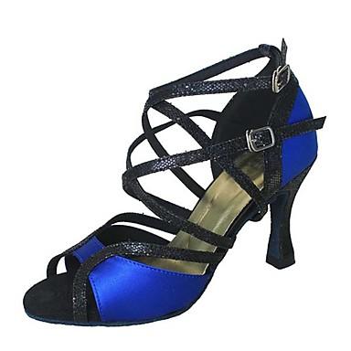 Damskie Buty do latino Brokat / Satyna Sandały / Na obcasie Łączenie Obcas do wyboru Personlaizowane Buty do tańca Niebieski / Skóra
