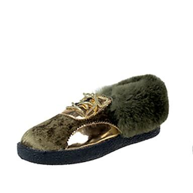 Damskie Obuwie PU Nubuk Jesień Modne obuwie Comfort Buciki Okrągły Toe Szurowane na Casual Black Gray Green