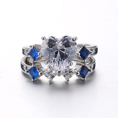 Damskie Cyrkonia Rhinestone Cyrkonia Pozłacane - Vintage Elegancki Silver Pierścień Na Ślub Party Wieczór