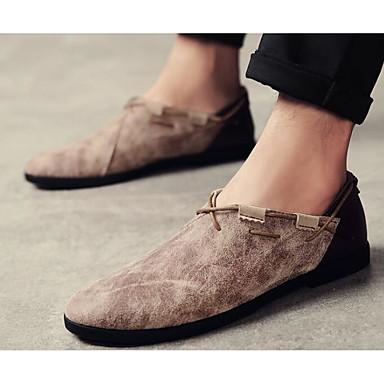 Herren Schuhe Leder Frühling Herbst Komfort Leuchtende Sohlen Loafers & Slip-Ons Für Normal Beige Grau Braun