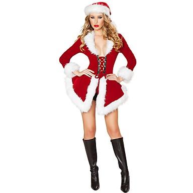 Święty Mikołaj Mrs.Claus Kostium Damskie Święta Festiwal/Święto Kostiumy na Halloween Stroje Czerwony Solidne kolory Święto