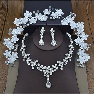 Damskie Syntetyczny diament Leaf Shape Biżuteria Ustaw 1 Naszyjnik / Náušnice - Słodkie Crown Shape Silver Nakrycia głowy / Naszyjnik Na