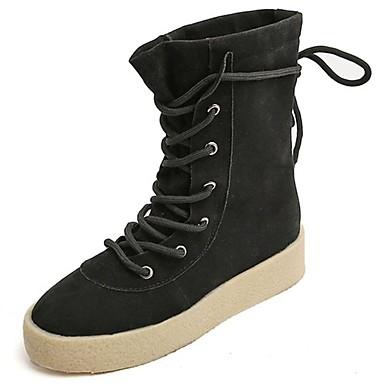 Damen Schuhe Kaschmir Winter Springerstiefel Stiefel Runde Zehe Mittelhohe Stiefel Schnürsenkel für Normal Schwarz Kamel