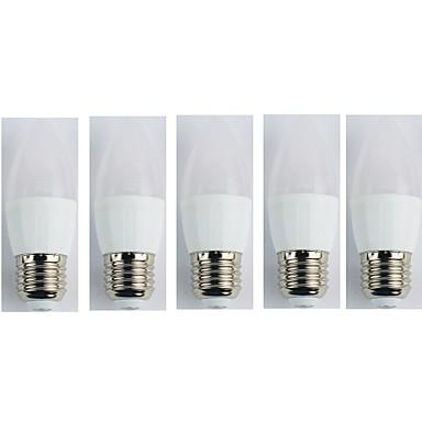 5pcs 4W 320lm E27 Żarówki LED świeczki C35 5 Koraliki LED SMD 3528 Zimna biel 110-240V