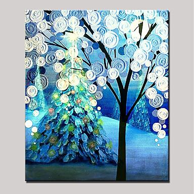 Hang-Malowane obraz olejny Ręcznie malowane - Kwiatowy / Roślinny Zwierzęta / Nowoczesny Zwinięte płótna / Zwijane płótno