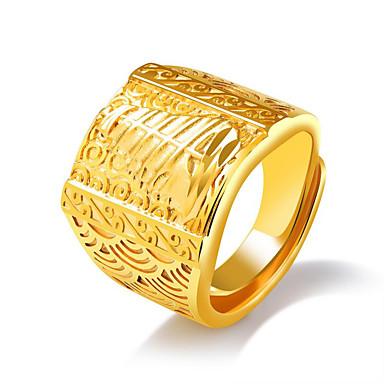 voordelige Herensieraden-Heren Statement Ring manchet Ring Zegelring Goud Titanium Staal Titanium Staal Geometrische vorm Statement Oversized Dubai Bruiloft Dagelijks Sieraden meetkundig