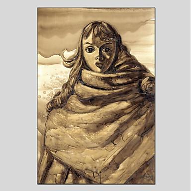 Hang-Malowane obraz olejny Ręcznie malowane - Ludzie Nowoczesny Brezentowy / Rozciągnięte płótno