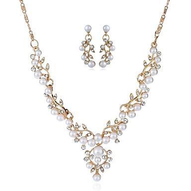Damskie Biżuteria Ustaw - Sztuczna perła, Imitacja diamentu Klasyczny, Moda Zawierać Kolczyki drop Naszyjniki Złoty / Srebrny Na Impreza Ceremonia
