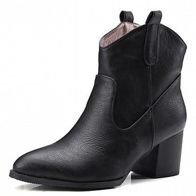 Damen Schuhe Kunstleder PU Winter Komfort Neuheit Modische Stiefel Stiefel Spitze Zehe Booties / Stiefeletten für Kleid Party & Festivität
